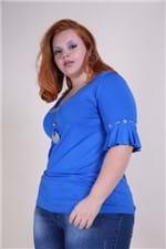 Blusa Babado Plus Size Azul P