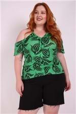Blusa Babado Plus Size Verde G