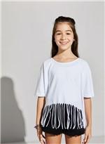 Blusa Basica Franja Branco M