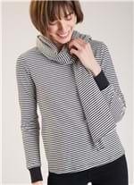 Blusa C Cachecol Algodao Listrado Branco/preto G