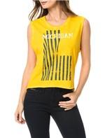 Blusa Calvin Klein Jeans C Lavanderia e Estampa Frontal Amarelo Ouro - M