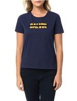 Blusa Calvin Klein Jeans com Estampa Frontal Faixa Floco Marinho - P