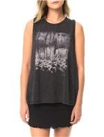 Blusa Calvin Klein Jeans Estampa Frontal e Transpasse Grafite - P
