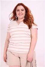 Blusa Canelada com Listras Plus Size Rosa M