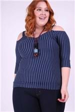 Blusa Canelada Listrada Plus Size Azul Marinho P