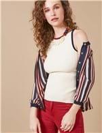 Blusa Canelada Tricolor OFFWHITE / G