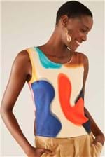 Blusa Cantão Est Abstrata - Multicolorido