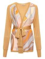 Blusa Cardigan de Seda Dourada Tamanho XS