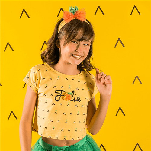 Blusa Carnaval Mini Abacaxi Amarelo Forte/m