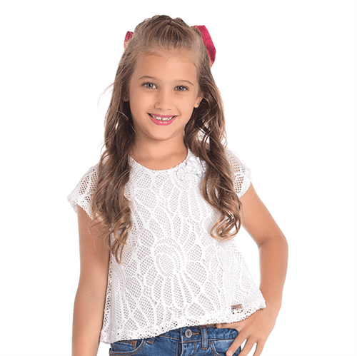 Blusa Cata-Vento Infantil La Renda Branco 04