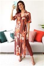 Blusa Chemise Dress To Longo Flor do Salar - Laranja