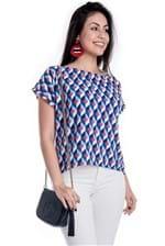 Blusa Ciganinha Ampla com Estampa Geométrica BL3304 - P