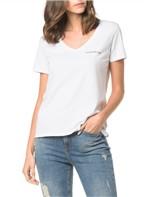 Blusa Ckj Fem Mc Logo Peito - Branco 2 - PP