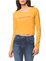 Blusa CKJ Fem Ml Cropped Logo - Amarelo Ouro - PP
