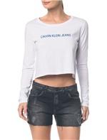Blusa Ckj Fem Ml Cropped Logo - Branco 2 - P