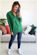 Blusa Colcci Moletom Decote V - Verde