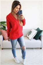 Blusa Colcci Moletom Decote V - Vermelho
