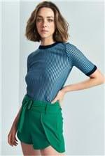 Blusa Colcci Tricô Listrada - Azul