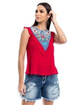 Blusa com Detalhe Jeans - Vermelho C/ Azul P
