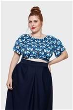 Blusa com Faixa Laço Gatos Plus Size Azul-50