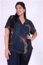 Blusa com Gola de Camisa Plus Size Azul Marinho M