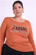 Blusa com Silk e Bordada Plus Size Caramelo P