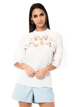 Blusa Crepe Detalhe Bordado - Branco P