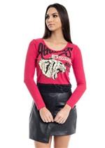 Blusa Cropped Canelada C/ Renda - Vermelho Pp