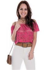 Blusa Cropped Ciganinha de Renda BL3012 - Kam Bess