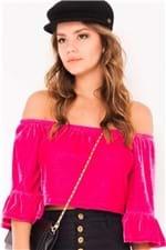 Blusa Cropped em Veludo BL3648 - Kam Bess