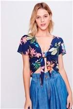 Blusa Cropped Floral com Amarração