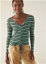 Blusa Cropped Franzida Rib Listrado Verde M