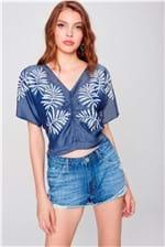 Blusa Cropped Jeans Estampada Feminina
