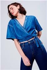 Blusa Cropped Jeans Transpassada - Tam: UC / Cor: BLUE