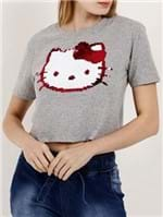 Blusa Cropped Manga Curta Feminina Hello Kitty Cinza