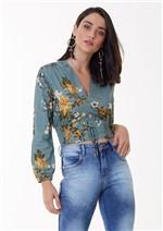Blusa Curta Estampa Floral com Amarração