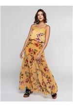 Blusa de Alcinha Estampa Floral Fundo com Detalhe - P