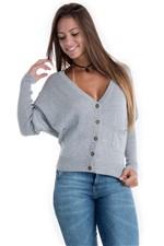 Blusa de Lã Feminina Decote V com Manga Morcego e Fio de Luréx 21502 - Kam Bess
