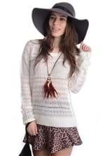 Blusa de Lã Feminina Grossa com Fio de Luréx BL0924 Kam Bess