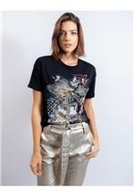 Blusa de Malha com Silk Bandeira U.S.A e Bordado M