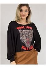 "Blusa de Malha com Silk ""Make Love Wild Tiger"" G"