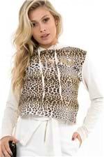 Blusa de Moletinho Cropped Animal Print ML0715 - Kam Bess