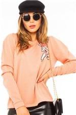 Blusa de Moletom Feminina com Lurex e Patch ML0547 - Kam Bess