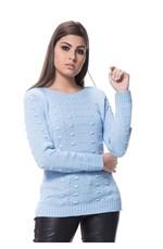 Blusa de Tricot Bola Alto Relevo - Azul AZUL