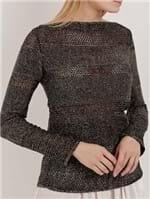 Blusa de Tricot Lurex Feminina Preto/dourado