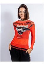 Blusa de Tule com Manga Comprida e Silk Fashion Si M