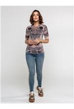Blusa de Tule Estampa Lace Print com Transfer - G