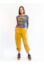 Blusa de Tule Manga Longa Silk Xadrez Azul com Tra P