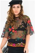 Blusa de Tule Transparente com Bordados BL3911 - Kam Bess