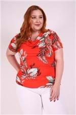 Blusa Decote Degage Plus Size Vermelho P